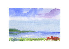 Sea landscape with red flowers - watercolour Stock Photos
