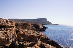 Sea landscape with rock. Capo Greco, Cyprus Stock Images