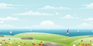 Sea landscape with sails Stock Image