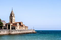 Sea landscape of San Pedro`s Church in the coast of Gijon, Asturias, Spain, stock image