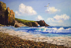 Sea landscape with seagull. Oil painting on canvas , sea landscape with seagull Stock Images