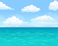 Sea landscape seamless horizontal. Sea summer landscape seamless background for game. Ocean, blue waves, sky, clouds, horizon. Vector illustration of a Stock Photo
