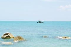 Sea landscape with  ship on horizon. Koh Samui, Thailand. Stock Photo