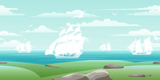 Sea landscape with ships Royalty Free Stock Photo