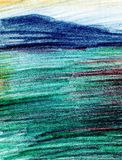 Sea landscape, Sea side, beach, mountains. Beautiful hand painting illustration. Pencil paint paper textured element for copy space, greeting card royalty free stock images