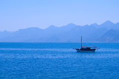 Sea landscape with silhouette of mountains Royalty Free Stock Image