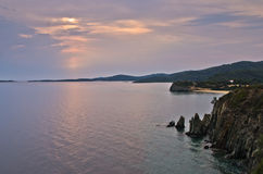 Sea and landscape of Sithonia west coast at sunset Stock Images