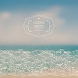 Sea landscape and sketch waves. Vector blurred background with sea landscape and hand drawn sketch waves Stock Photo