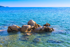 Sea landscape with stone rocks Royalty Free Stock Image
