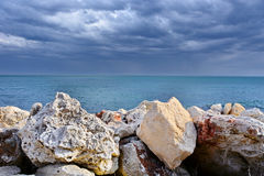 Sea landscape with storm clouds Stock Photo