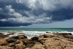 Sea landscape with storm sky . Royalty Free Stock Image