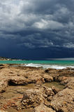 Sea landscape with storm sky . Royalty Free Stock Images