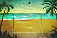 Sea landscape summer beach with a grid for volleyball Royalty Free Stock Images
