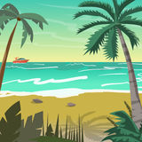 Sea landscape summer beach with palms, boat, horizon at sunset. Stock Photos