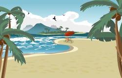 Sea landscape summer beach, palms, sun umbrellas, beach beds. Stock Photography