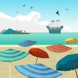 Sea landscape summer beach parasols, umbrellas, cruise ship. Stock Photos