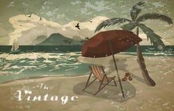 Sea landscape summer beach, sun umbrellas, beach beds. Stock Image