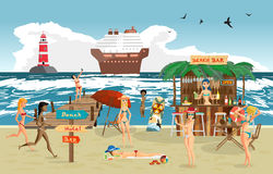 Sea landscape summer beach. Vector cartoon flat illustration. Beach bar with bartender, a woman in a bikini to swim and sunbathe, play sports. Cruise ship and Royalty Free Stock Photos