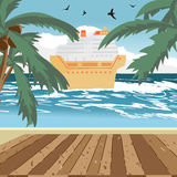 Sea landscape summer beach, wooden floor, cruise ship Royalty Free Stock Image