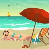Sea landscape summer beach. Young woman in bikini sunbathing Stock Photos