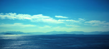 Sea & landscape. Sea and landscape at summer. Panoramic shot in Greece Stock Photos