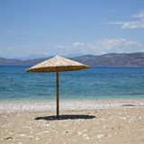 Sea landscape. Summertime in Greece, Corinth, beach Royalty Free Stock Photos