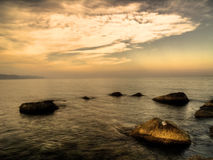 Sea landscape at sunset. An High Dynamic Range evocative image of a sea landscape stock photos