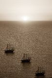 Sea landscape with a sunset of sepia color Stock Photography
