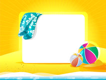 Sea landscape with towel and beach ball Royalty Free Stock Images