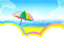 Sea landscape with umbrella. On the sand and white space for text Royalty Free Stock Image