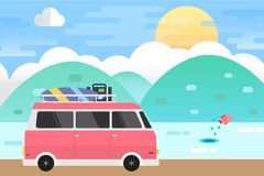 Sea Landscape and Van Car Travel. Vector Illustration Flat Design Background. This is graphics vector Illustration Background. Ready to use for websites, social Stock Image