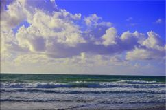 Sea landscape and waves. Royalty Free Stock Photo