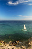Sea landscape with yacht Stock Image