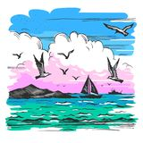 Sea landscape with yachts. Vector color sketch of a sea landscape with yachts and seagulls on the background of the shore with mountains stock illustration