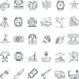 Sea leisure black line icons collection Royalty Free Stock Photo