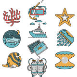 Sea leisure flat design icons Royalty Free Stock Photography