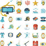 Sea leisure flat icons collection Royalty Free Stock Images
