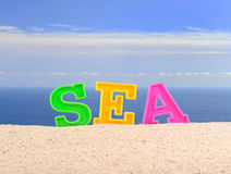 Sea letters on a beach sand Royalty Free Stock Images