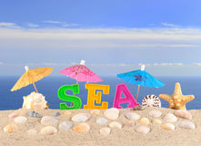 Sea letters on a beach sand Royalty Free Stock Image