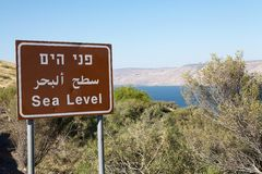 Sea level. Panel written in hebrew, arab and english, with Lake Tiberias down in the background, Israel royalty free stock photo