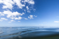 Sea level. Shot using a water-housing, right at sea level on a very calm day in the ocean stock photography