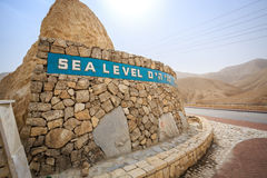 Sea level sign approaching Dead Sea, Israel. Sea level sign written in 3 languages approaching Dead Sea, Israel royalty free stock photography
