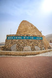 Sea level sign approaching Dead Sea, Israel. Sea level sign written in 3 languages approaching Dead Sea, Israel stock photography