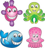 Sea life 1. Four animals found in the sea royalty free illustration