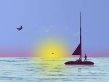 Sea life. Fisherman on sea vector illustration