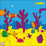 Sea life. Cute illustration of sea life, marine life Stock Photos