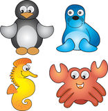 Sea life 2. Four animals found in the sea vector illustration