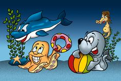Sea Life. Cartoon Background Illustration, Bitmap Stock Images