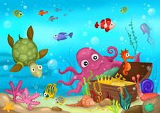 Sea life. Illustration of a sea life Royalty Free Stock Image