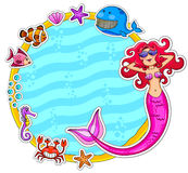 Sea life. Frame with a mermaid wearing sunglasses and sea creatures Royalty Free Stock Photography